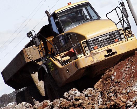dump trucks sage on site